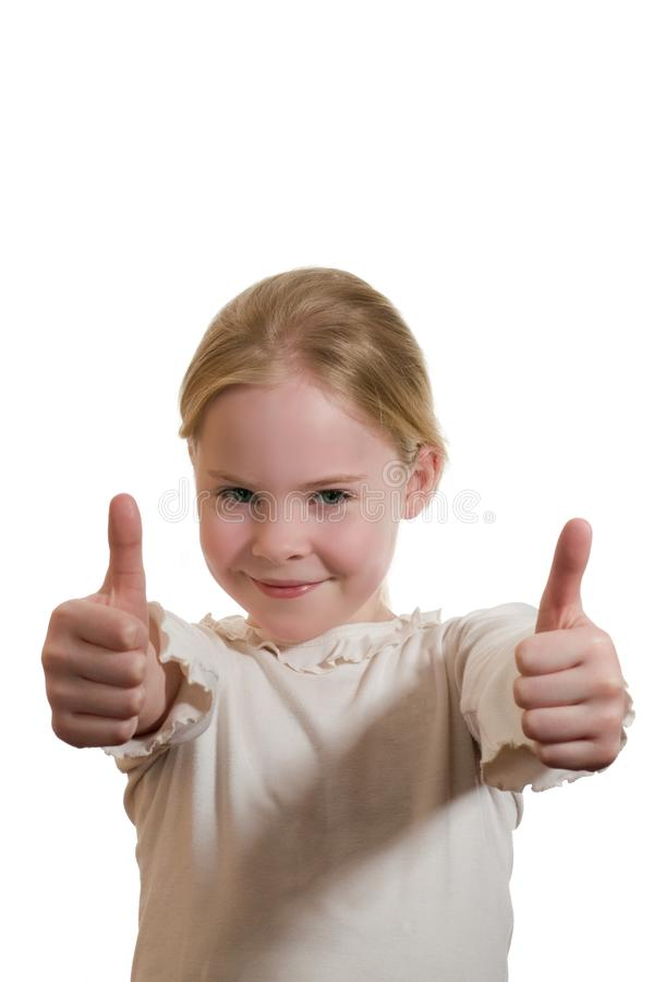 Portret dat van meisje duim geeft stock foto's