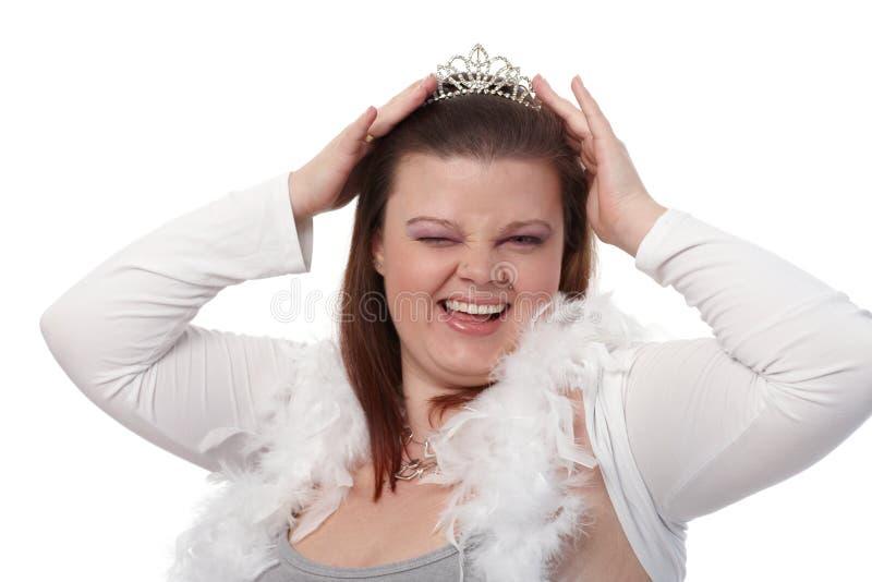 Portret dat van mollige vrouw knipoogt royalty-vrije stock foto