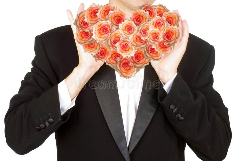Portret de man met bloemenhart royalty-vrije stock afbeeldingen
