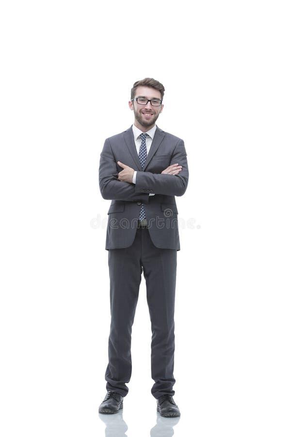 Portret in de volledige groei van een succesvolle zakenman stock afbeelding