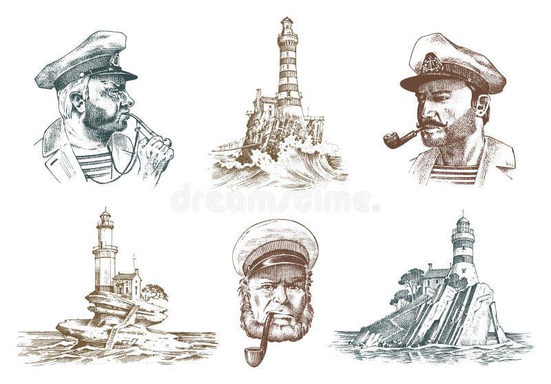 Portret Denny kapitan Morski stary żeglarz i latarnia morska Bluejacket, gwizd, żeglarz z brodą i mężczyzna żeglarz, royalty ilustracja