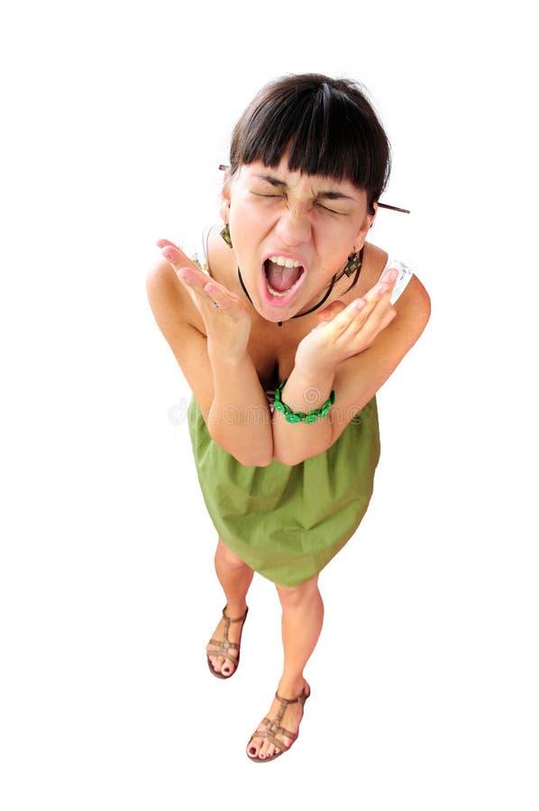 Portret der schreienden Frau stockfotografie