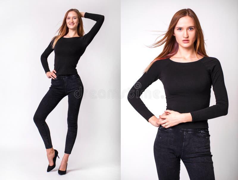Portret dicht bij het mooie, mooie model brunette stock foto's