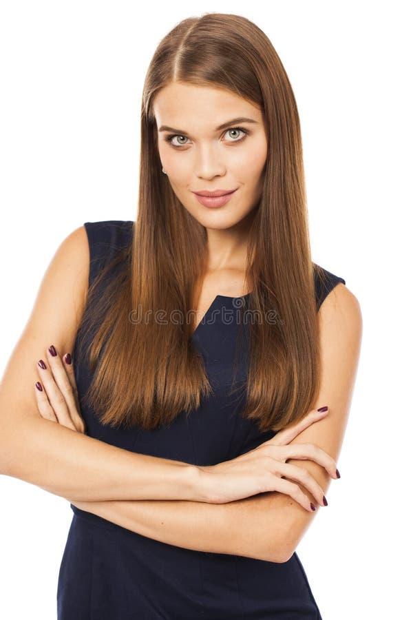 Portret dichte omhooggaand van jonge mooie blondevrouw stock afbeeldingen