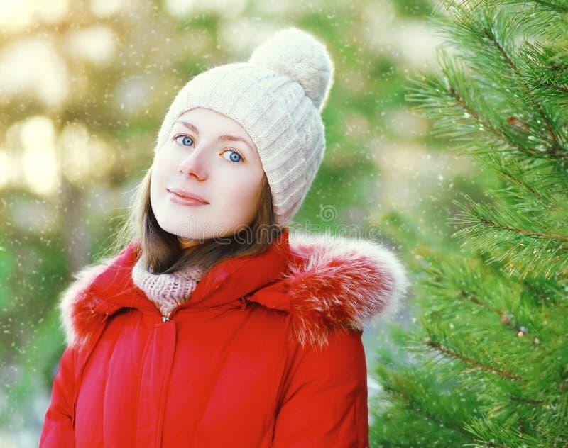 Portret die jong meisje glimlachen die een rode jasje en een hoed in de winterdag dragen stock foto's