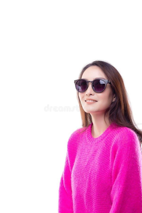 Portret die mooie vrouw charmeren Aantrekkelijk mooi Azië wom stock afbeelding
