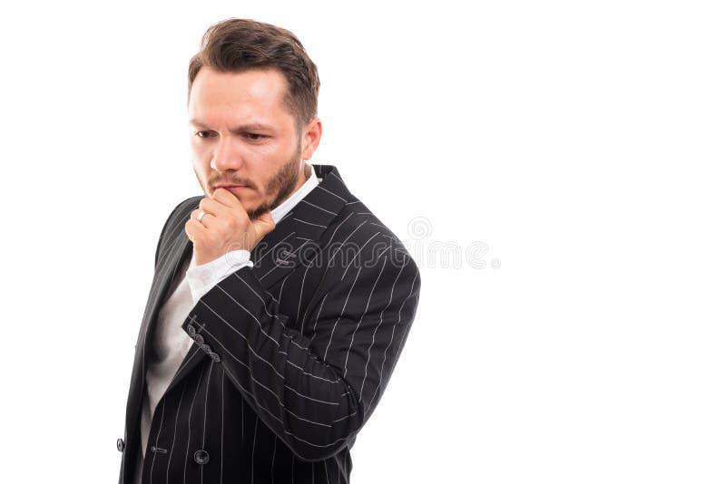 Portret die van de bedrijfsmens het denken gebaar tonen royalty-vrije stock afbeelding