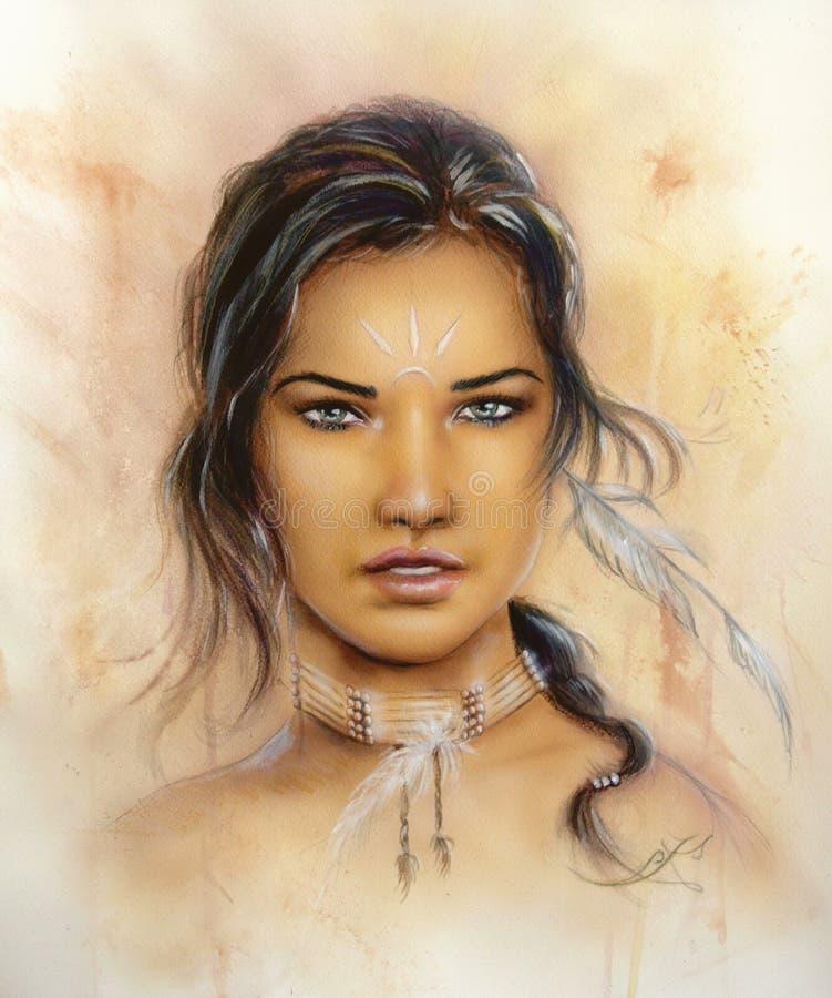 portret die van een jong betoverend vrouwengezicht met veren en lang donker haar, direct omhoog eruit zien vector illustratie