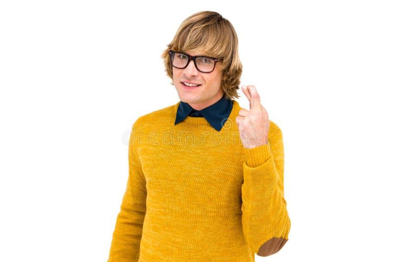 Portret die van hipster zijn vingers kruisen royalty-vrije stock afbeelding