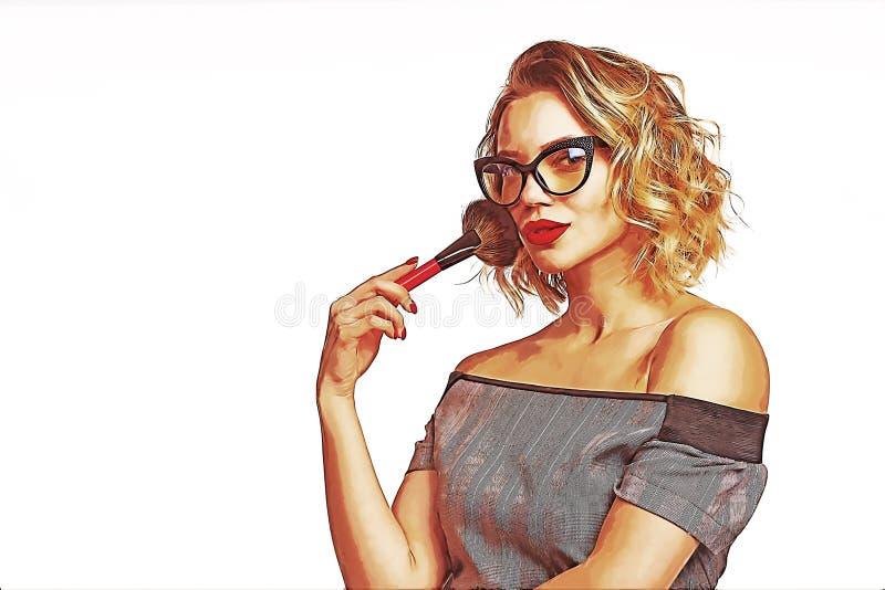 Portret die van vrouwelijke stilist zich met make-upborstels bevinden royalty-vrije stock afbeeldingen