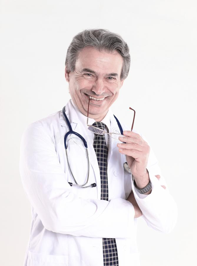 Portret dobrotliwy lekarz therapistisolated na białym tle zdjęcie stock