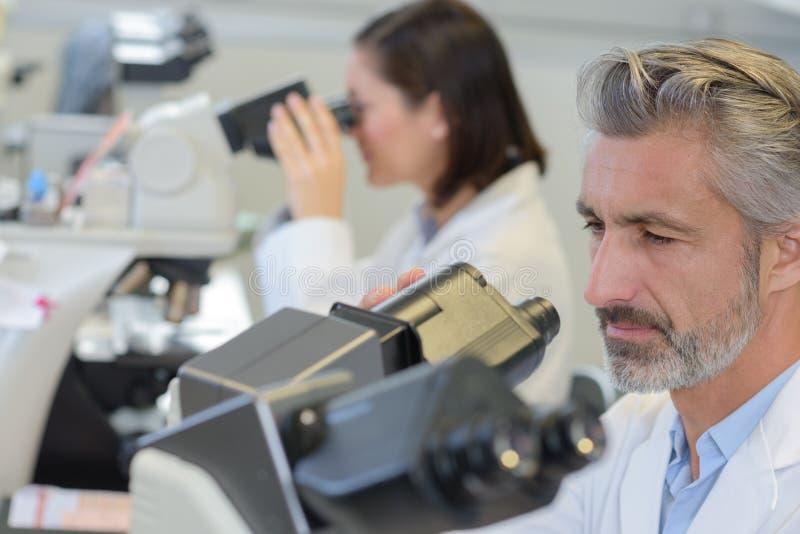 Portret dorosłej samiec w połowie naukowiec używa mikroskop w laboratorium zdjęcie royalty free