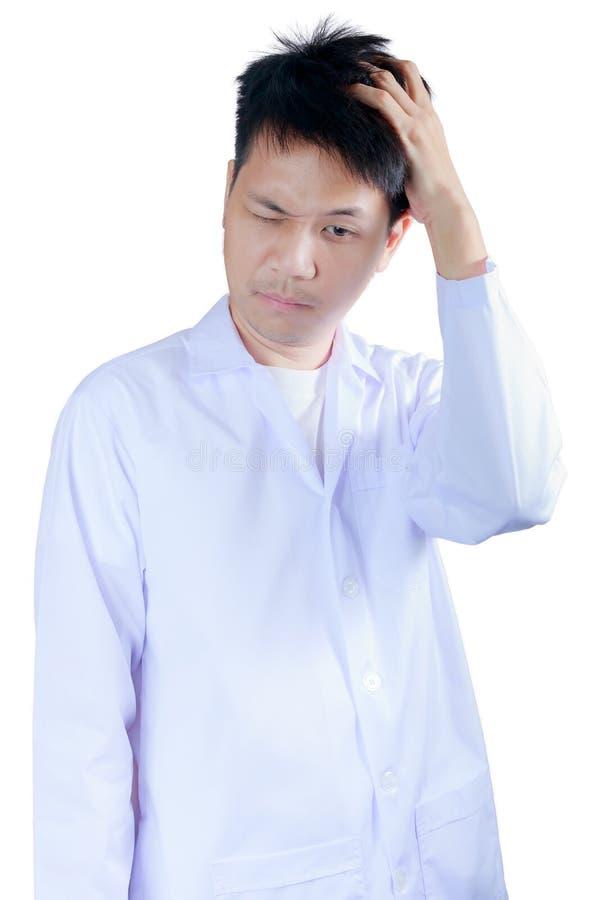 Portret droevige beroepsbeoefenaar met hoofdpijn stock foto