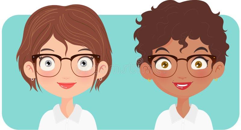 Portret dwa kobiet przedsiębiorca royalty ilustracja