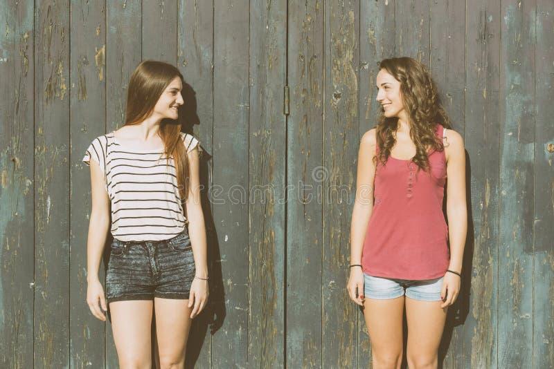 Portret dwa pięknej dziewczyny z drewnianym tłem fotografia royalty free