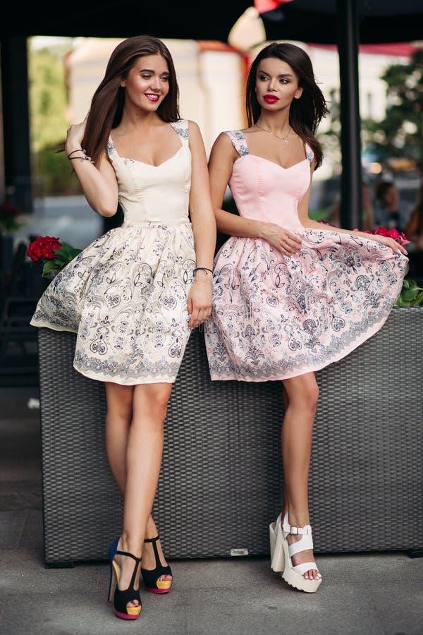 Portret dwa pięknej luksusowej brunetki kobiety fotografia stock