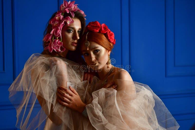 Portret dwa wspania?ej damy z dzikimi kwiatami elegancja Wianek fantazja obrazy stock