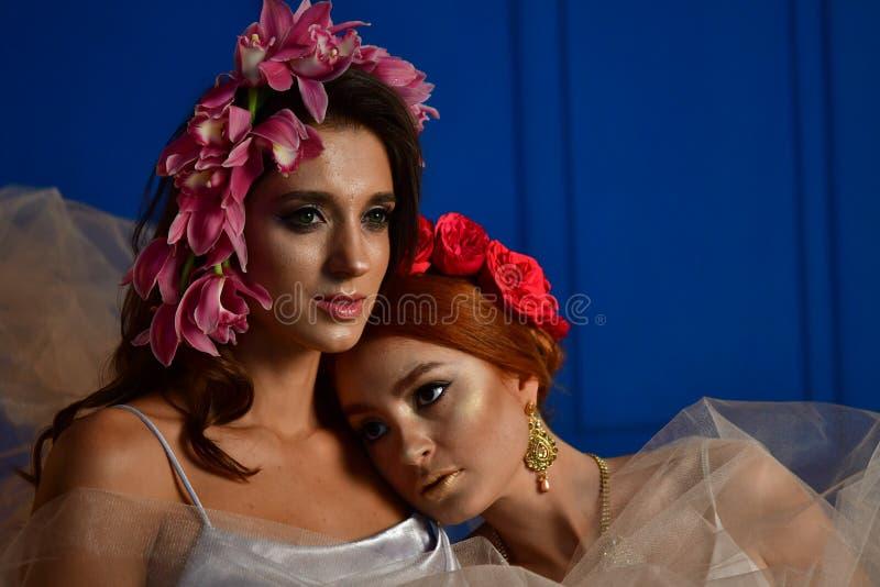 Portret dwa wspania?ej damy z dzikimi kwiatami elegancja Wianek fantazja zdjęcie royalty free