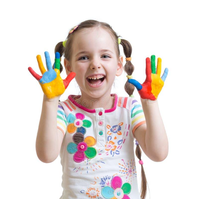 Portret dziecko dziewczyna z malować rękami obraz royalty free