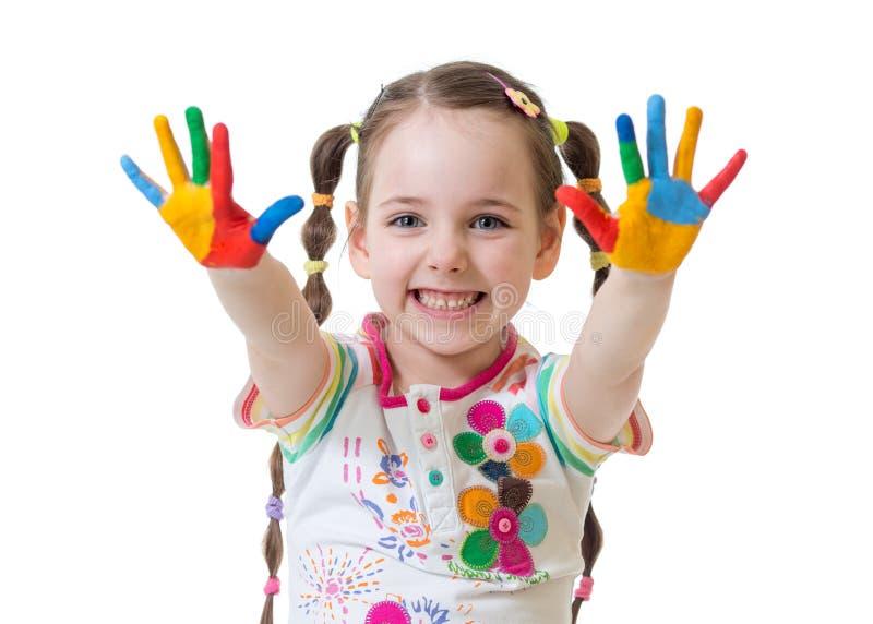 Portret dziecko dziewczyna z malować rękami fotografia stock