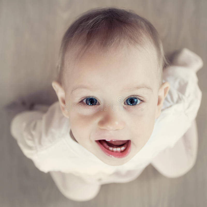 Portret dziecko od above zdjęcia stock