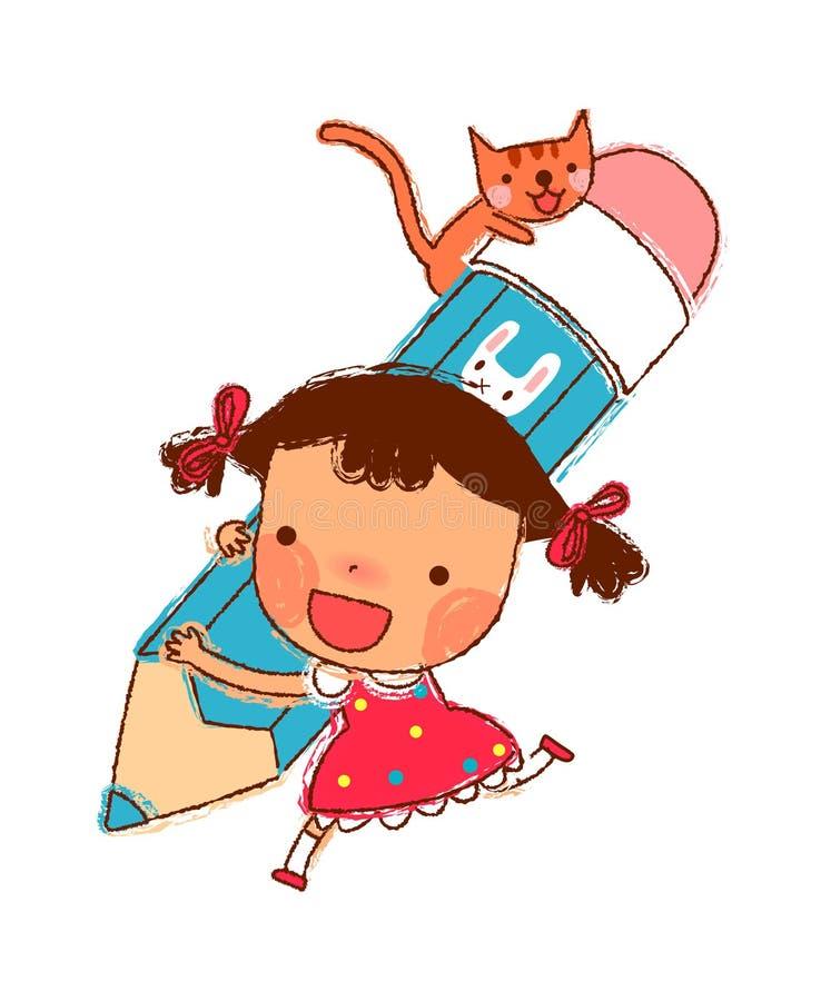 Portret Dziewczyna ilustracji