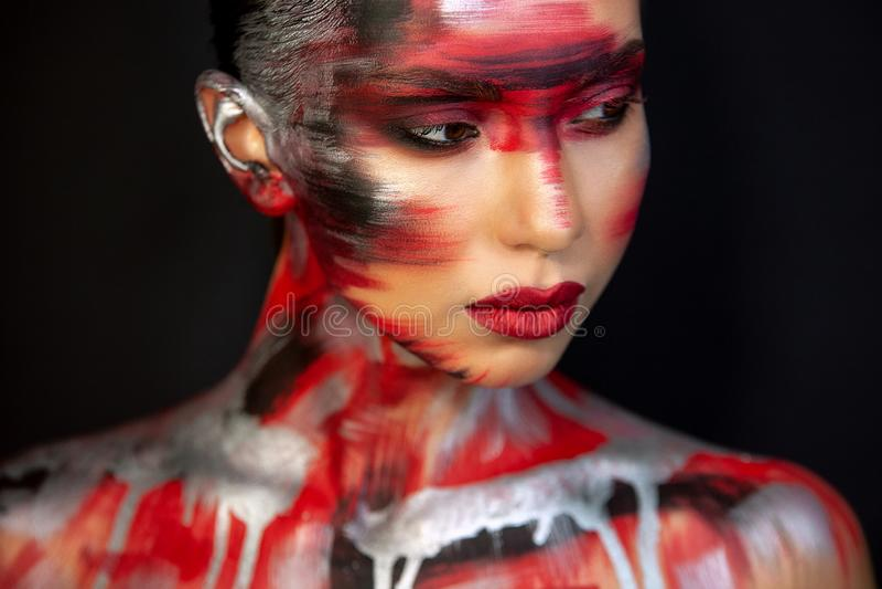 Portret dziewczyna europejski azjatykci pojawienie z makeup obraz royalty free