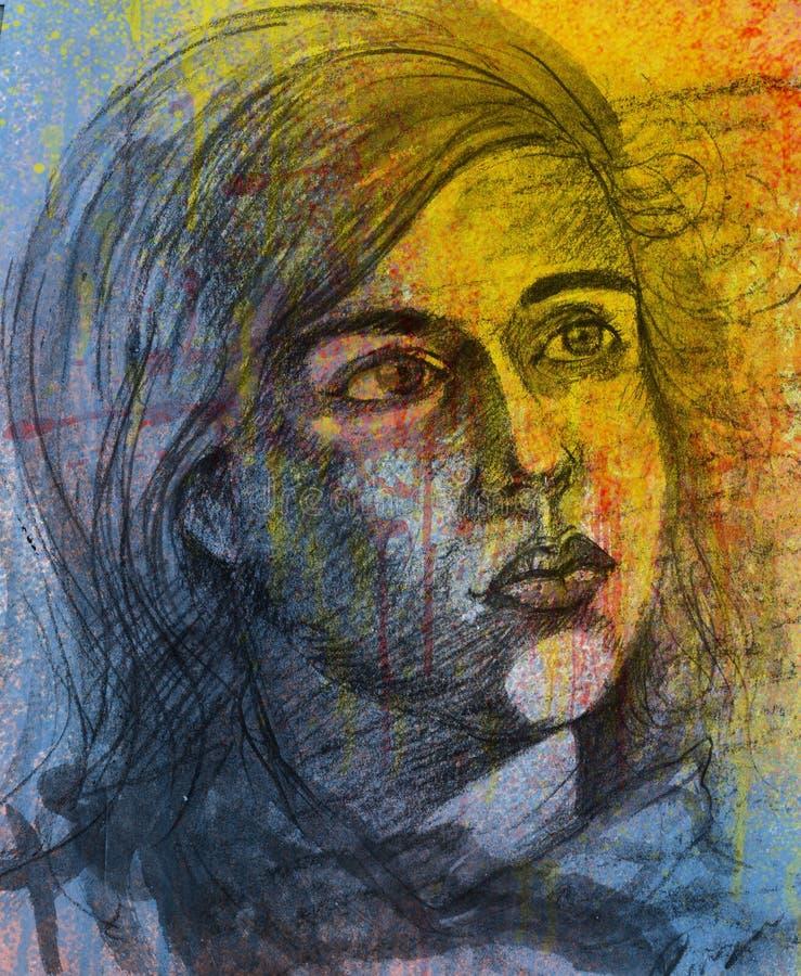 Portret dziewczyna Przyglądająca W górę Smutnych wyrażeń Z - Ołówkowy nakreślenie ilustracja wektor
