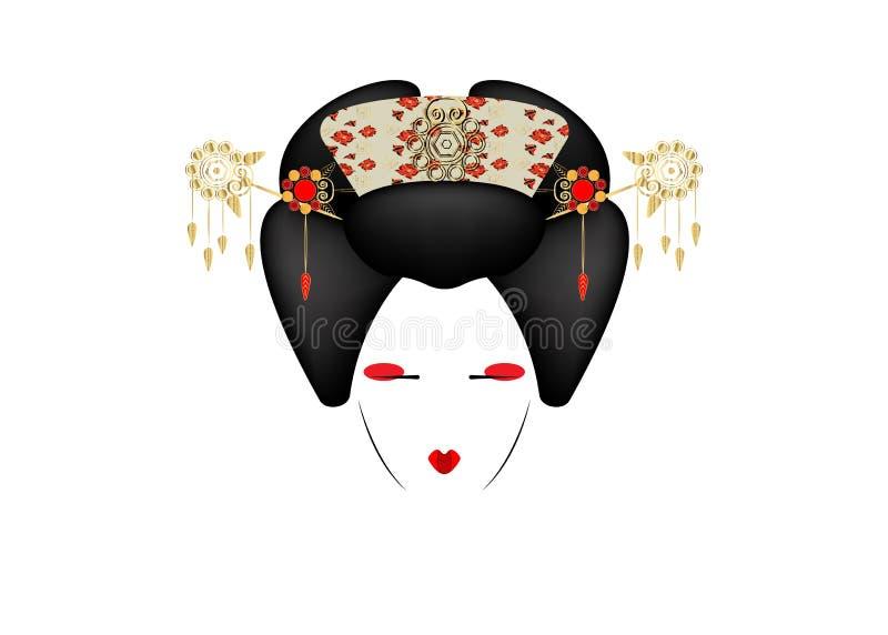 Portret dziewczyna, tradycyjny styl z Japońską fryzurą, madama motyl, gejsza, lub ilustracji