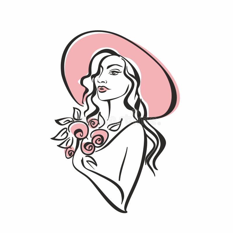 Portret dziewczyna w kapeluszu z kwiatami Rocznik Elegancki dziewczyna model wektor ilustracji