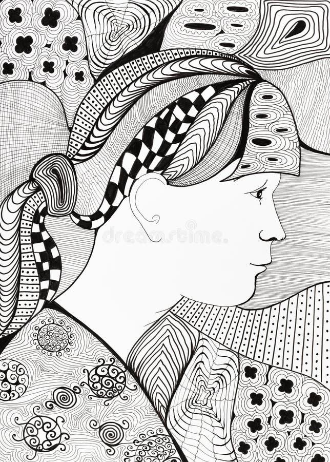 Portret dziewczyna z abstrakcjonistycznym tło ornamentem ilustracji