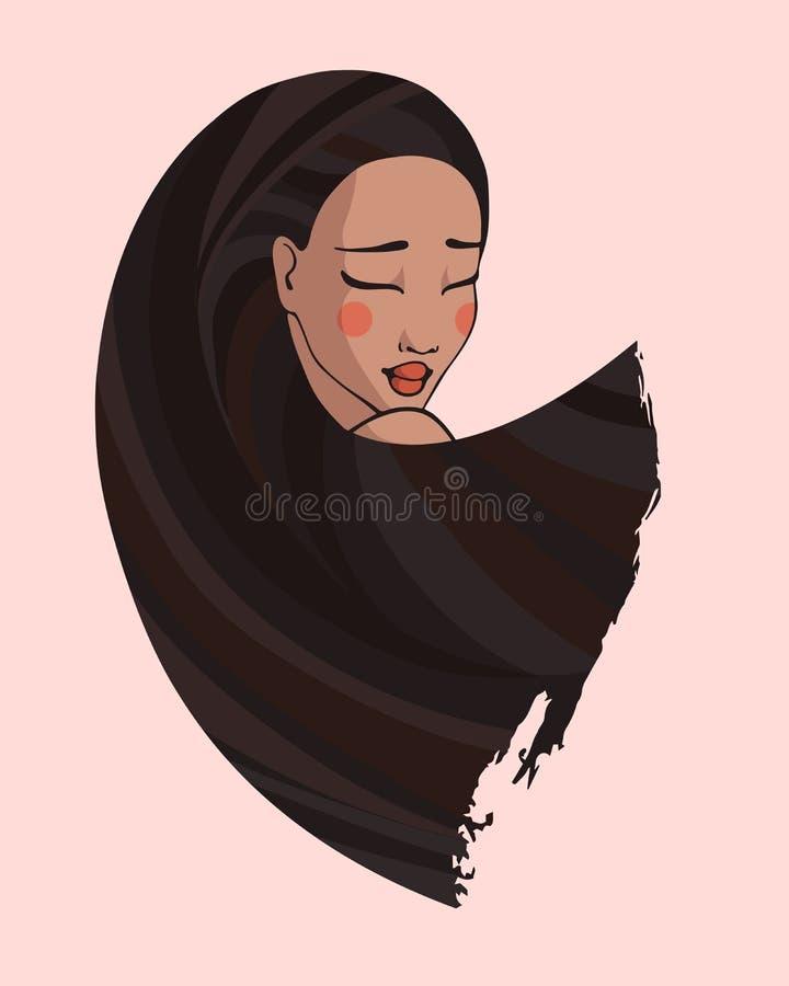 Portret dziewczyna z czarni włosy w stylu kreskówki zdjęcie royalty free