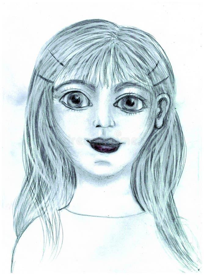 Portret dziewczyna z dużymi oczami royalty ilustracja