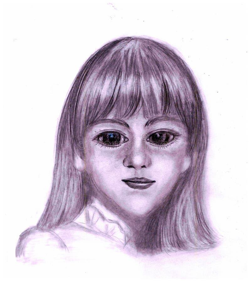 Portret dziewczyna z dużymi oczami jak lala ilustracji