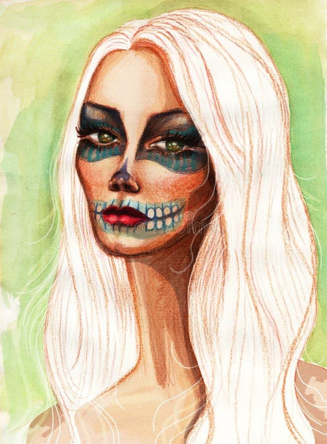 Portret dziewczyna z jej twarzą malującą ilustracji