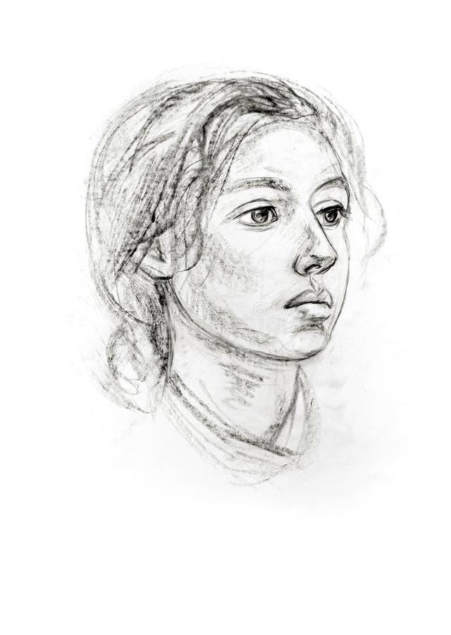 Portret dziewczyna z ołówkiem ilustracji