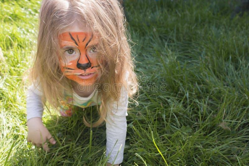 Portret dziewczyna z tygrysim aqua makeup troszkę dziecko szuje jak tygrys obraz royalty free