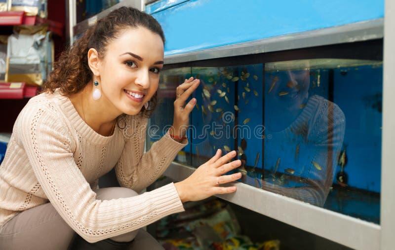 Portret dziewczyny dopatrywania ryba zdjęcia stock