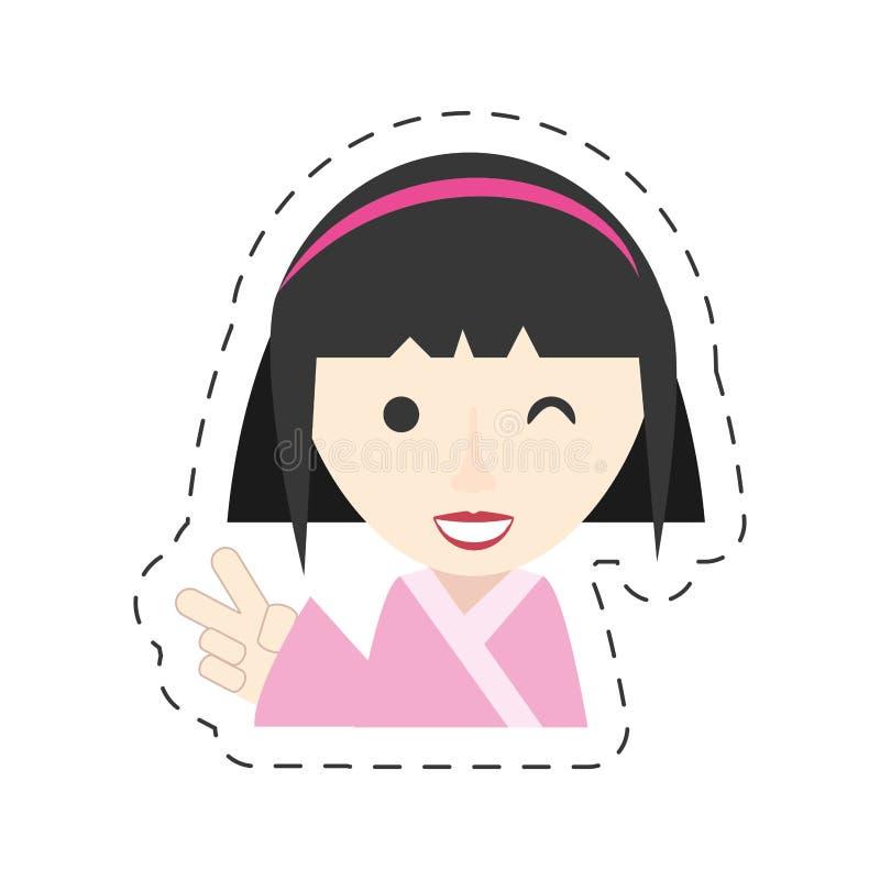 portret dziewczyny mrugnięcia japoński uśmiech royalty ilustracja