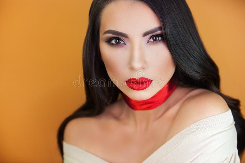 Portret dziewczyny pięknej dziewczyny makijażu fachowy artysta obraz royalty free
