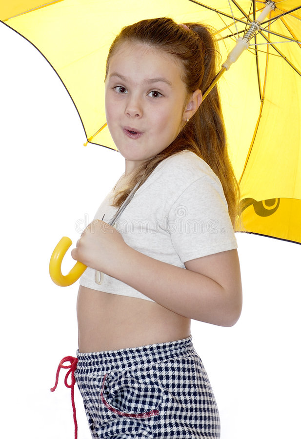 portret dziewczyny tło białe parasolkę young obraz royalty free