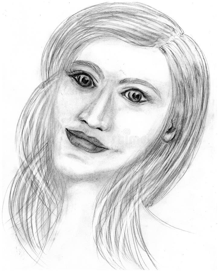 Portret dziwaczna kobieta z długie włosy royalty ilustracja