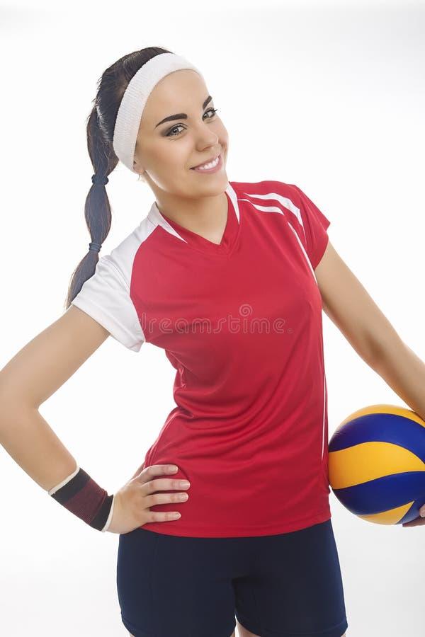 Portret Żeńska siatkówki atleta Wyposażająca w Nowożytnym sporcie O zdjęcia royalty free