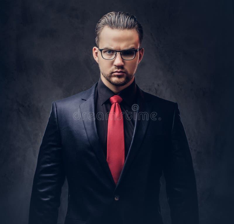 Portret elegancka samiec w czarnym kostiumu czerwonym krawacie i Odizolowywający na ciemnym tle obrazy stock