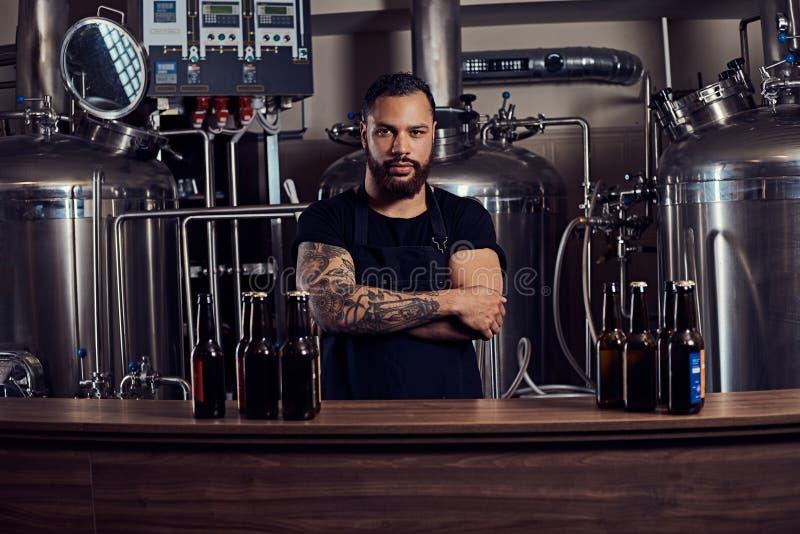 Portret elegancki brodaty tatuujący zmrok skinned samiec stoi za kontuarem w browarze z krzyżować rękami fotografia stock