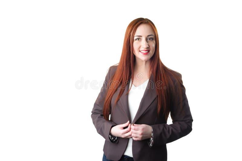 Portret elegancko ubierająca młoda caucasian rudzielec kobieta obrazy royalty free