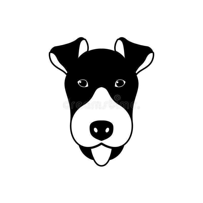 Portret Fox Terrier, czarny i biały mieszkanie styl ilustracja wektor