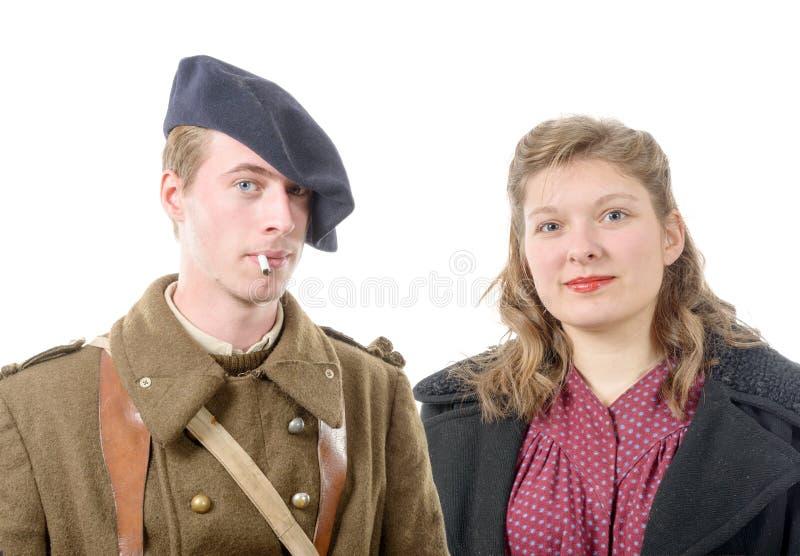 Portret Francuski żołnierz i jego żona, 40s obrazy royalty free