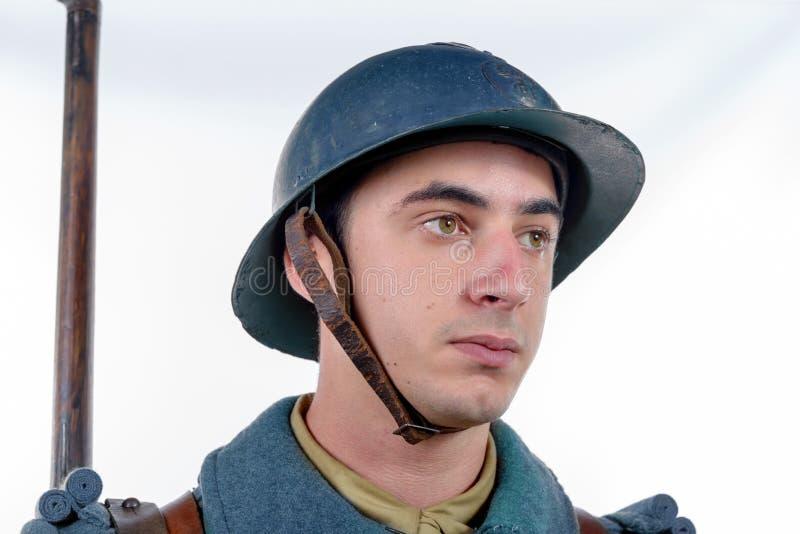 Portret Francuski żołnierz Wielka wojna 1914 na whi, 1918, zdjęcia stock