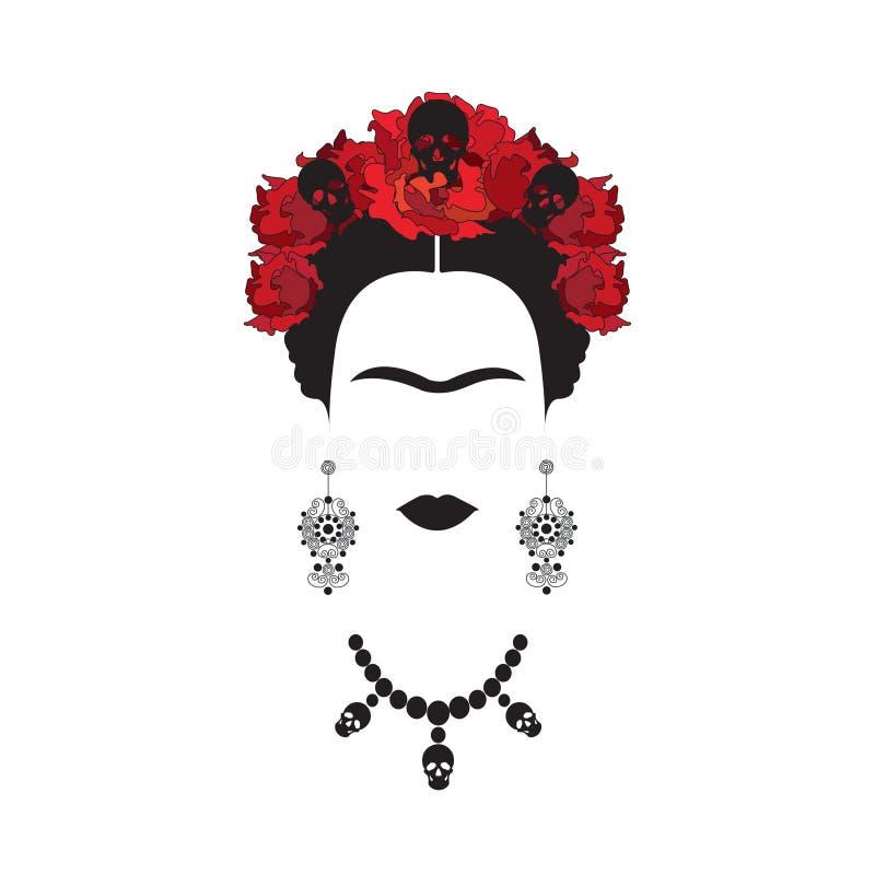 Portret Frida Kahlo minimalistyczna Meksykańska kobieta z czaszkami kolczyki i czerwoni kwiaty, meksykanin Catrina, odizolowywają royalty ilustracja